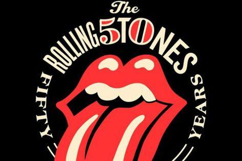 Selo comemorativo dos 50 anos de carreira dos Rolling Stones. Destaque para a mistura entre letras e números presente no nome da banda