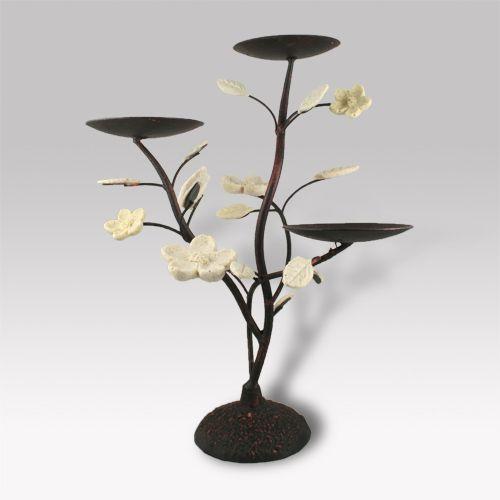Porta velas realizado en hierro envejecido y cer mica - Portavelas de hierro ...