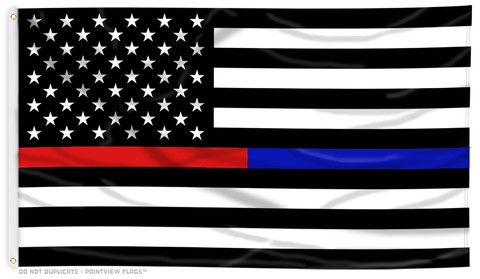 Thin Red Line and Thin Blue Line Flag