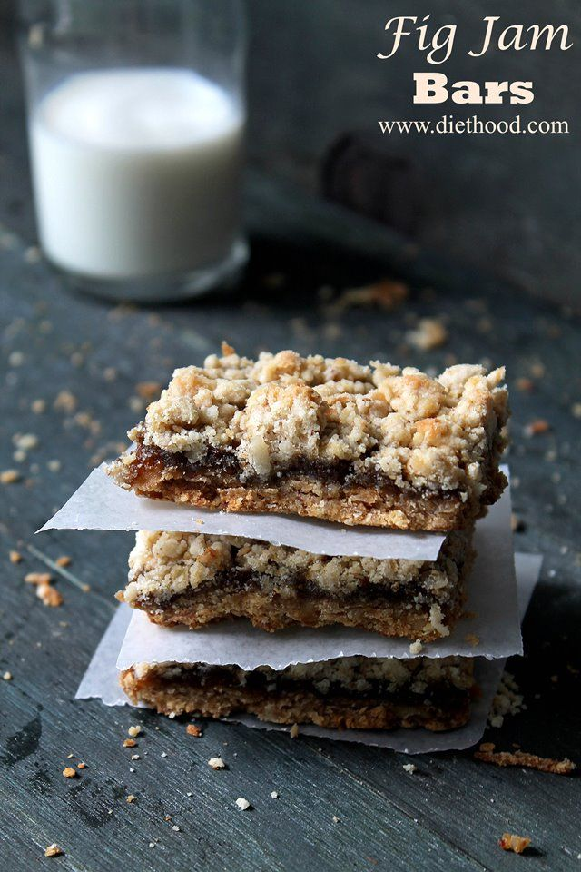 Fig Jam Bars ~Nuts, oats, and shredded coconut granola crust, filled with a delicious fig jam.