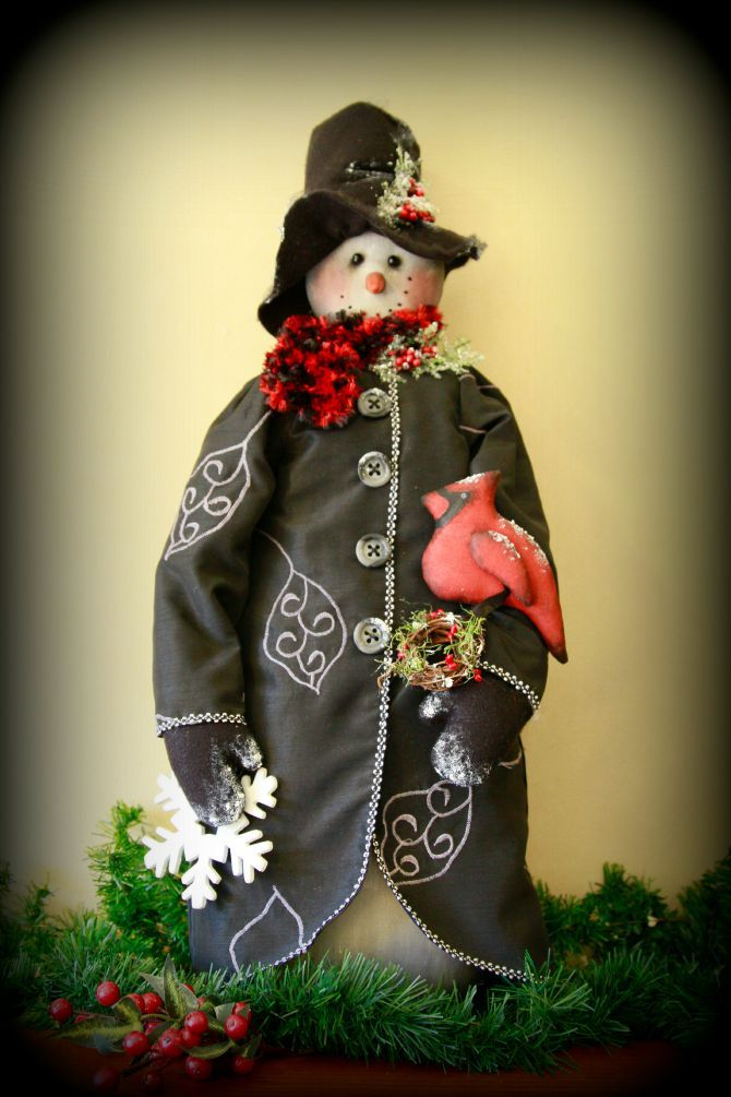 Snowman with cardinal bird made by TheChristmasDen on Etsy