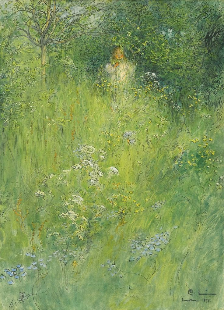 poboh:  A Fairy Or Kersti And A View Of A Meadow, Carl Larsson. Swedish (1853 - 1919)