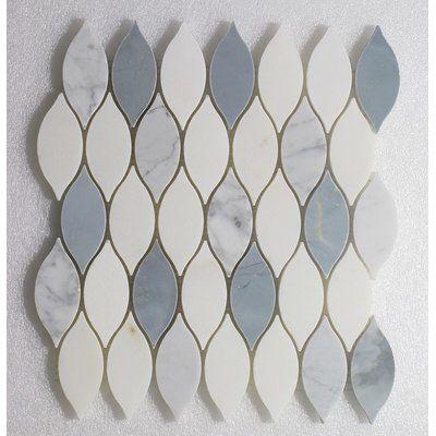 "Elongated Tear Drop-Pure Carrara Wall 12"" x 10.8"" Natural Stone Mosaic Tile in White/Blue"