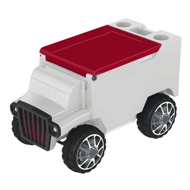 White/Red RC Truck Cooler w/ Bluetooth Speakers