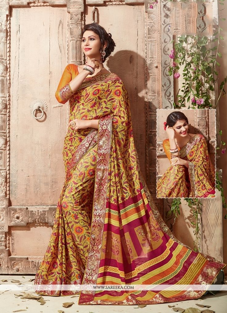 Everyone will admire you when you wear this clad to elegant affairs. Look sensationally awesome in this multi colour georgette casual saree. It is uniquely crafted with print work. Comes with matching...