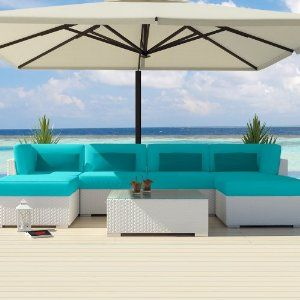 Uduka Outdoor Sectional Patio Furniture White Wicker Sofa Set Diani Turquoise All Weather Couch