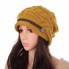 Wool Knit Crochet Buttons Strap Cap Decorative Braids Baggy Beanie Hat
