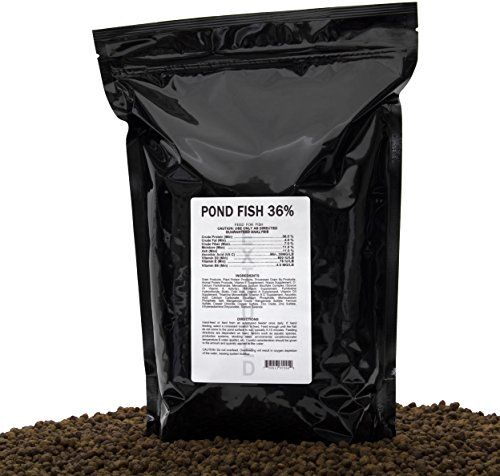High-protein, multi-species, multi-pellet size, floating & sinking fish feed designed for bass, bluegill, catfish, brim, perch and other fish species in a pond feeding program, 5Lbs (2.2kg)
