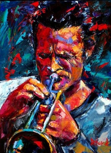 Chet Baker Jazz trumpet player jazz art by Debra Hurd, painting by artist Debra Hurd