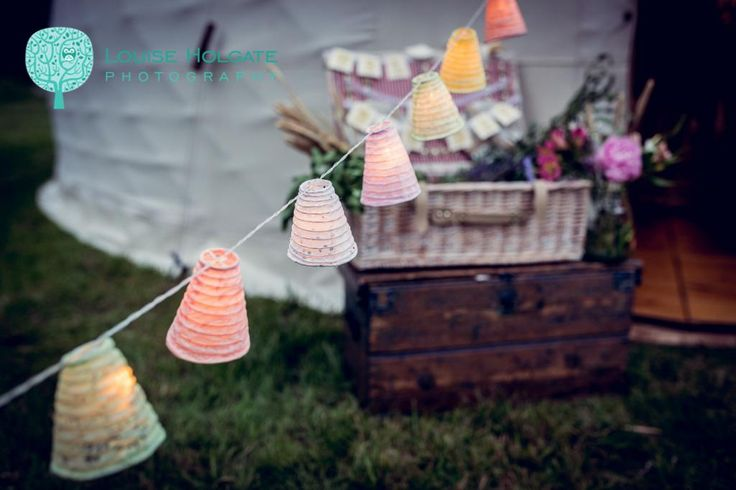 Outdoor lighting for Yurt Wedding - Luxury Wedding Yurts - Flowers - Styling - Outdoor Lighting - Lanterns - Wedding Lighting - Photo by Louise Holgate