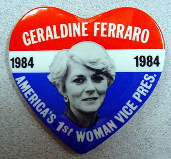 Geradine Ferraro, first woman to be nominated to a national presidential ticket.  She ran with Walter Mondale in 1984.  They were defeated by Ronald Reagan and George HW Bush