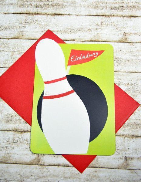 Einladungskarten - Einladung Kindergeburtstag KEGELN - ein Designerstück von Lingschmetter bei DaWanda Schöne 3D Wendekarte, auf der Rückseite beschriftet zum einfachen Ausfüllen. Der Kegel lässt sich drehen und gibt Name und Alter des Geburtstagkindes preis