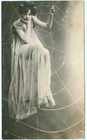 Caught in a Web c.1909 Postcard; via Maudelynn (my-little-time-ma...).