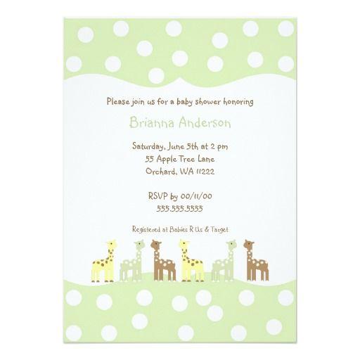 440 best Giraffe Baby Shower Invitations images on Pinterest - how to word baby shower invitations