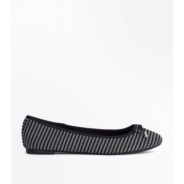 Black Glitter Stripe Ballet Pumps (€12) ❤ liked on Polyvore featuring shoes, pumps, black pattern, slip-on shoes, black skimmer, slip on shoes, ballet pumps and round toe pumps