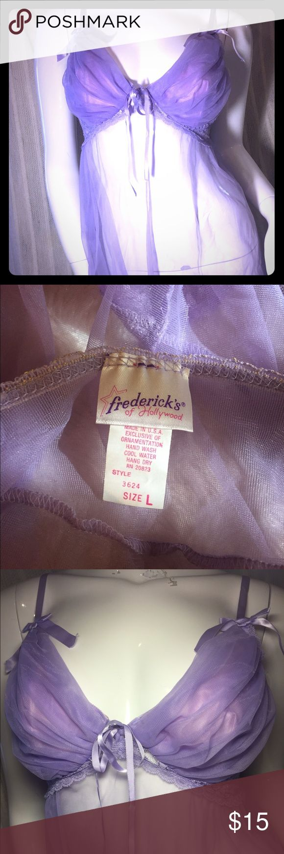 FREDRICK's of Hollywood Babydoll with lined cups Gorgeous & sexy! Great fully lined bra top to support your curves. Very feminine & delicate with Satin bow detailing. Worn once & it's been sitting ever since. Thank you for looking! Fredricks of Hollywood Intimates & Sleepwear Chemises & Slips