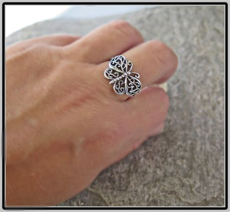 FANCY FLIGHT, STERLING SILVER BUTTERFLY RING SIZE U1/2