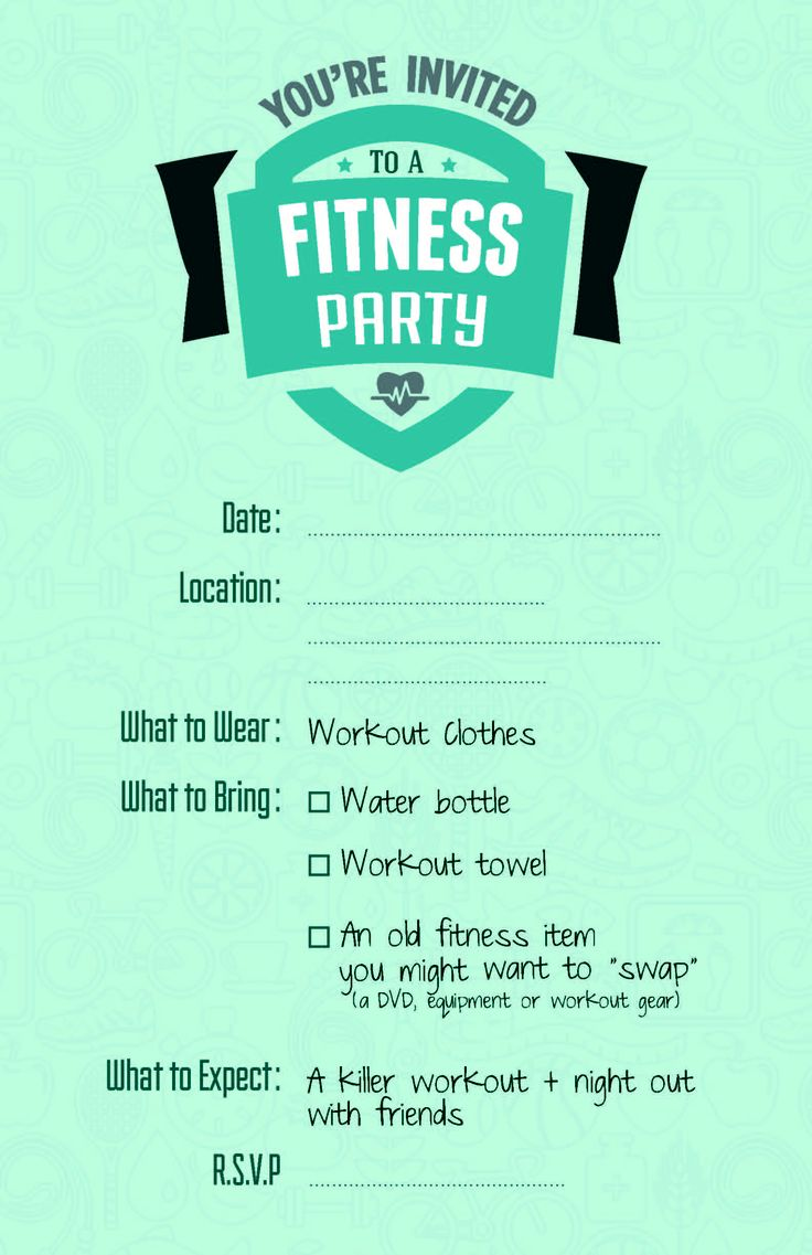Fitness Party Invite Inspo