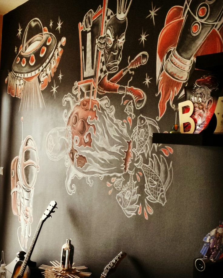 #wallmural #3x3#whitered#carcoal#astronaut #rocket #littleprince #bardone