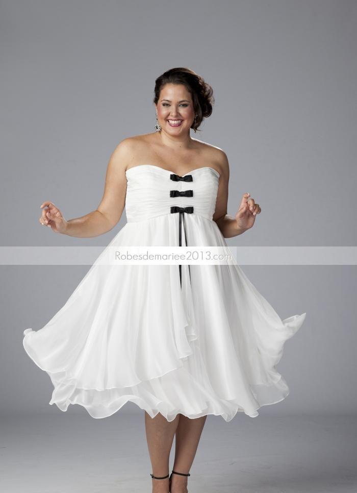 Empire Sweetheart Splendid Tea-Length bowknot Taille Plus robe de mariée