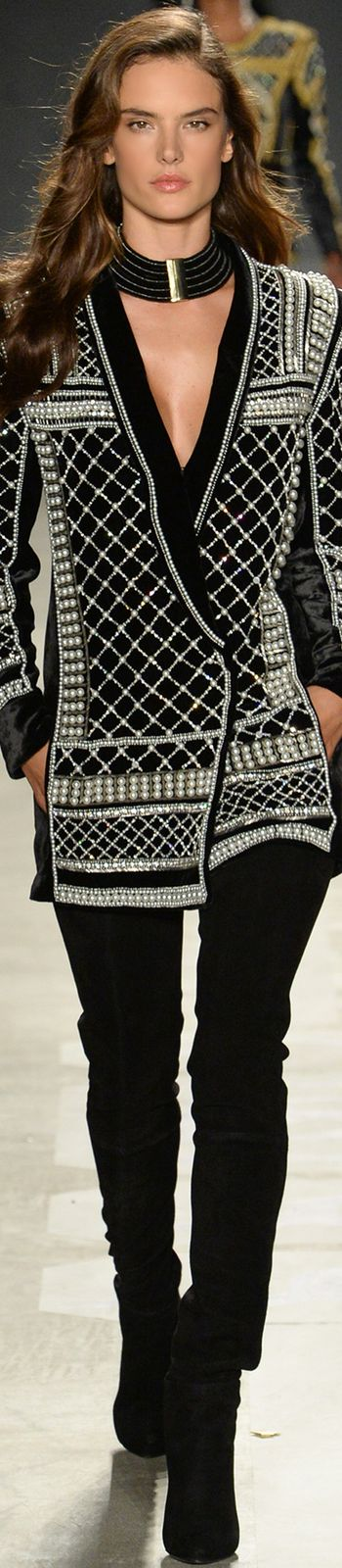 ALESSANDRA AMBROSIO WALKS FOR-  Balmain x H&M Collaboration Collection Runway 2015