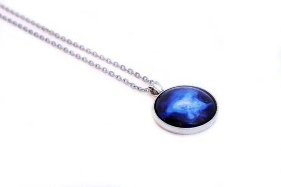 Cosmic Cabochon Necklace - Galaxy Jewellery - Astronomy Pendant - Striking Bright Blue Contrast - Wind Nebula - Outer Space & Science https://www.etsy.com/nz/shop/MajorTomJewellery