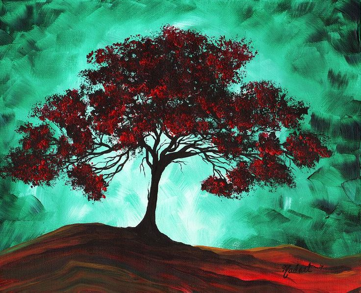 Abstract Art Original Colorful Tree Painting Passion Fire By Madart Painting by Megan Duncanson