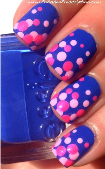 Polished Prescription: Blue and Pink Dotticure  Essie Butler Please, Lime Crime Parfait Day and China Glaze Pink Voltage