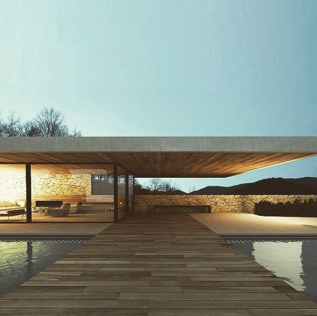 Fountains & Ponds | Contemporary wood bridge across a mote-like pool