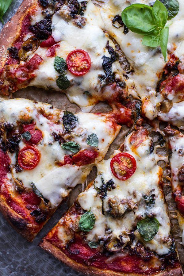 Cheesy Fontina Caramelized Onion, Chorizo, Spinach and Artichoke Pizza | halfbakedharvest.com @Half Baked Harvest