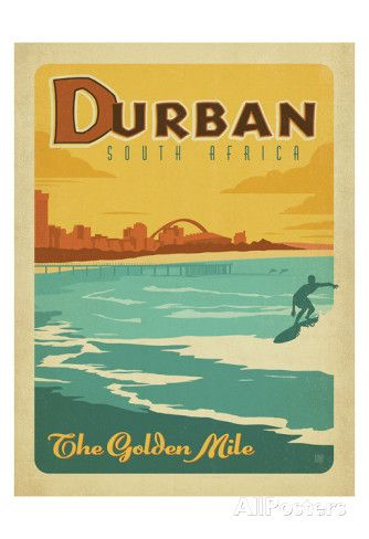 Durban, South Africa: The Golden Mile Art by Anderson Design Group at AllPosters.com