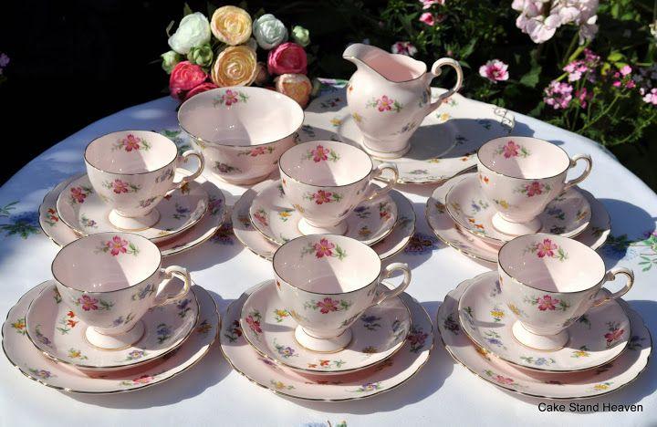 Pink Vintage Tuscan Fine English Bone China Tea Set