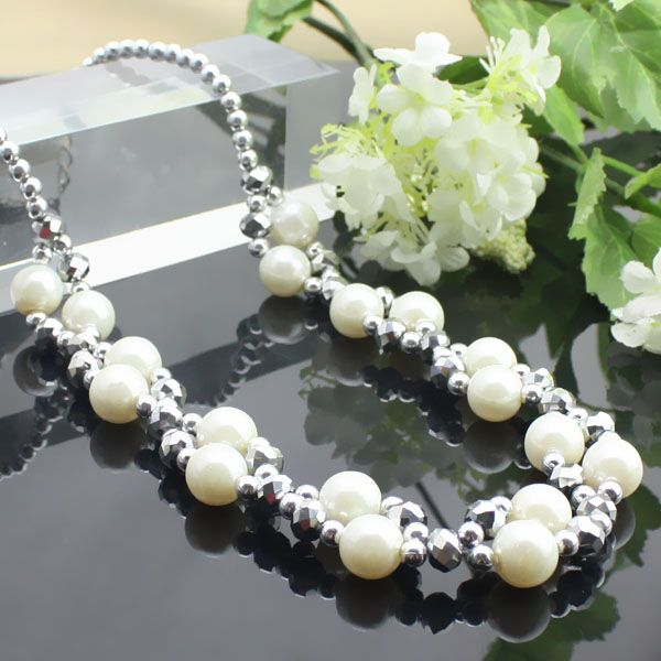 Perles argent + collier en cristal