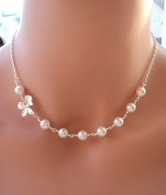 Swarovski Pearl and Orchid Flower Elegant silver necklace. Wedding. Bridesmaids Gift. Bridal.