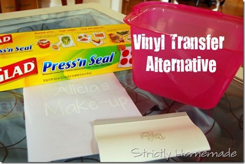 Press n' Seal as Vinyl Transfer Paper really works. (Also painter's tape!)