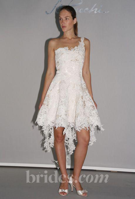 Brides: St. Pucchi - 2013. Style 19, one-shoulder knee-length asymmetrical lace A-line wedding dress, St. Pucchi