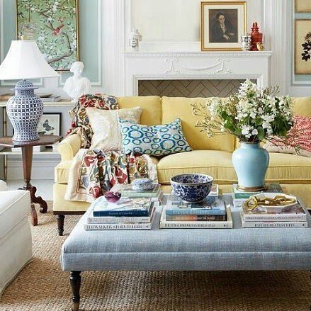 One Kings Lane Chinese porcelain, a Chinese ginger jar lamp, and a framed Chinoiserie panel accessorize this lovely living room.