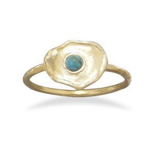 Brass and Turquoise Ring -