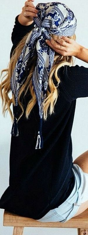 Modern hippie ethnic tribal print headscarf for a boho chic 70's look. For the BEST bohemian fashion trends FOLLOW > https://www.pinterest.com/happygolicky/the-best-boho-chic-fashion-bohemian-jewelry-gypsy-/ < now.