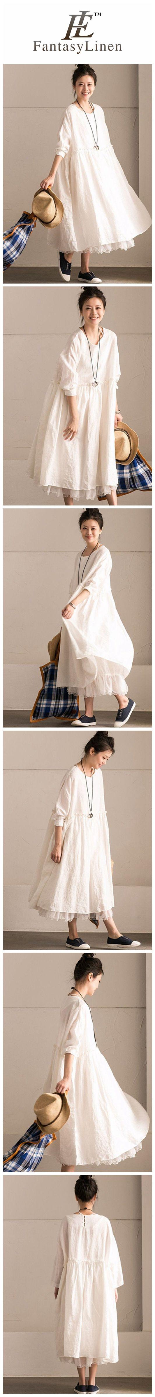 White Linen Summer Casual Plus Size Dresses For Women  Q292BG