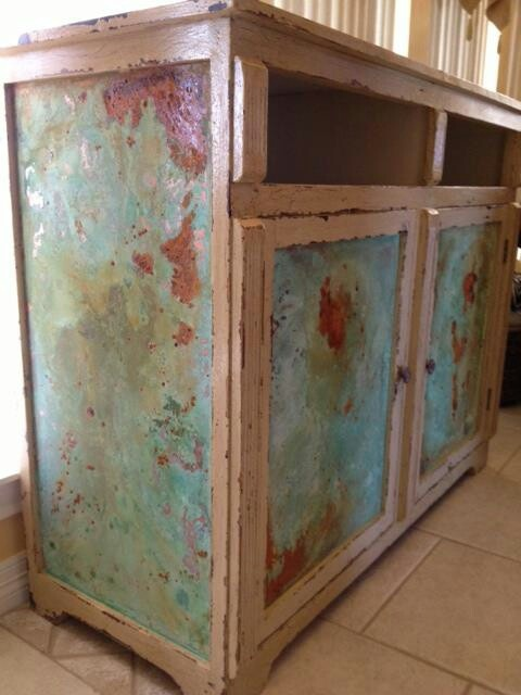 Copper And Rust Patina Effects Hand Painted Furniture