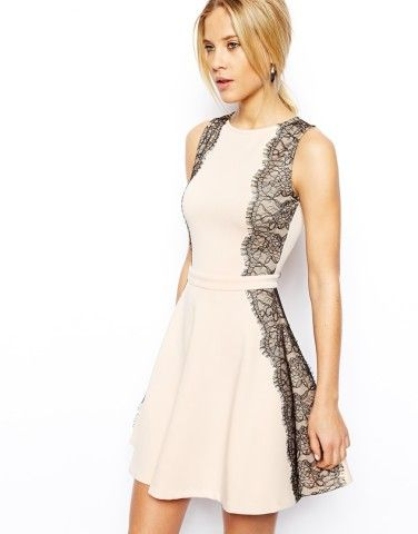 Lace Paneled Skater Dress