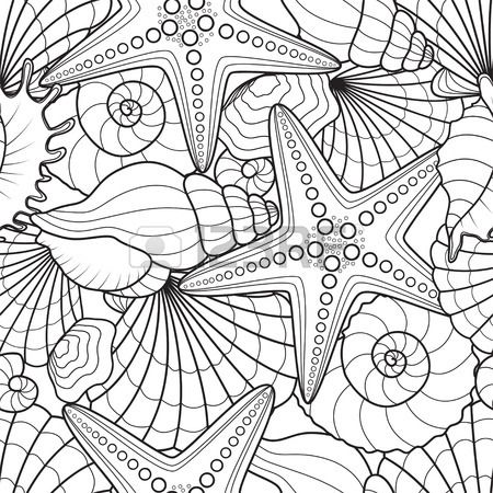 Seamless background with starfish and seashells crafts for Coloring pages of seashells