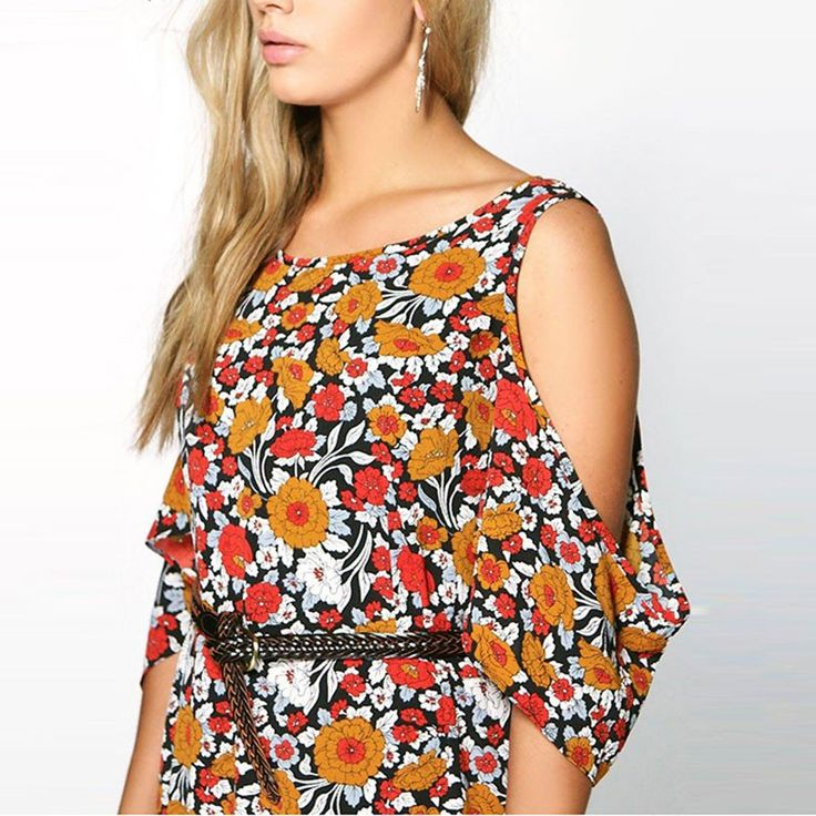Plus Size Bohemian 70's Hippie Floral Dress