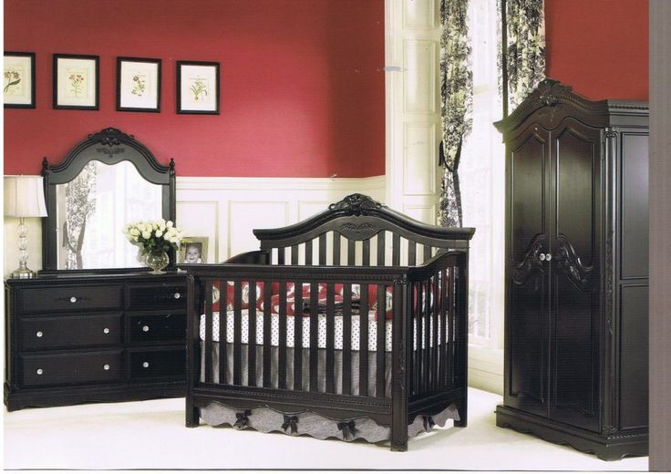 Exterior Marvellous Baby Room Design Presenting Glossy Black Lacquer Solid Oak Wood Baby Cribs Together With Black High Gloss Finish Cupboards And Charming Black Dresser Drawer With Beautiful Mirror W