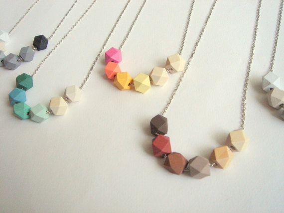 Etsy listing at https://www.etsy.com/listing/197146628/geometric-necklace-pastel-faceted-wood