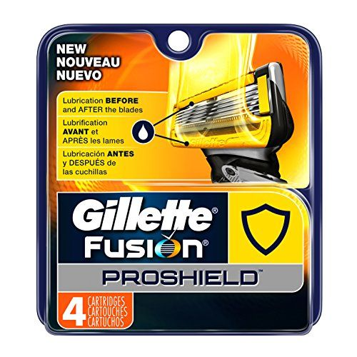 Gillette Fusion Proshield Men's Razor Blade Refills, 4 Count. ProShield razor blades: Lubrication BEFORE and after the blades shields from irritation. Gillette's THINNEST, FINEST BLADES with less tug and pull for incredible comfort First four blades (same as ProGlide). ProShield razor blades have a PRECISION TRIMMER on back for accurate edging. 1 REFILL UP TO 1 MONTH OF SHAVES, Based on 3 shaves per week.