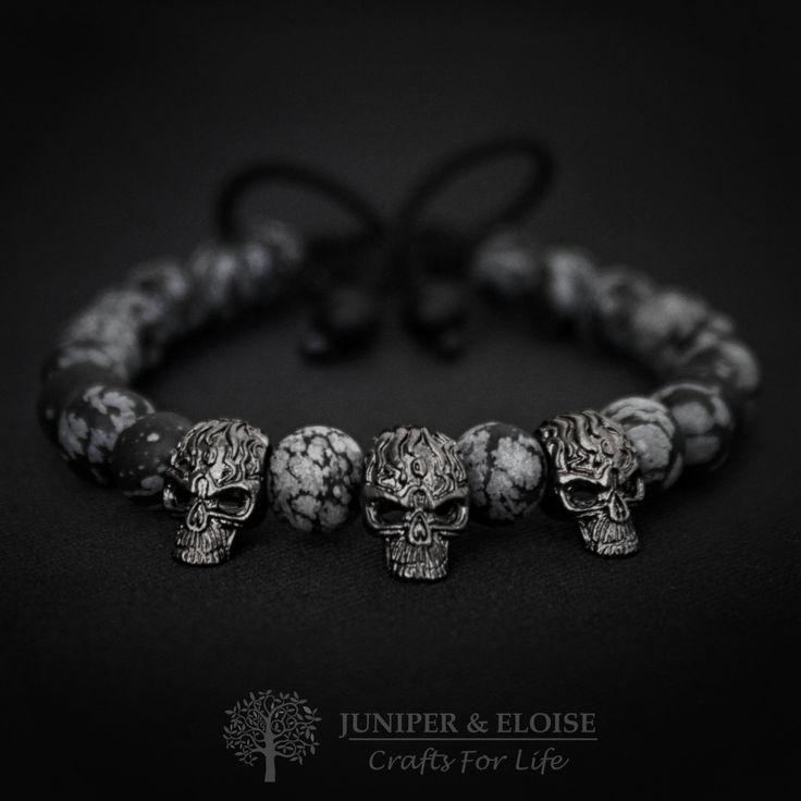 Black Friday Deals Mens Skull Bracelet, Gunmetal Skull and Matte Stone Bracelet, Bracelet For Men, Gift For Riders, Valentine's Day Gift by JuniperandEloise on Etsy