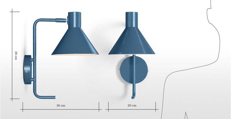 Truman Task Wall Lamp, Matt Memphis Blue | made.com