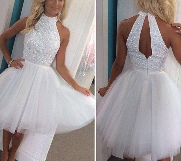 white halter beadings homecoming dress, #whitehomecomingdresses, #partydresses, #minipromdresses